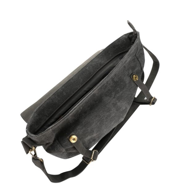 Escape Fatigue Canvas Messenger Bag | Dark Grey - KaryKase