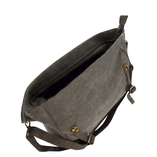 Escape Fatigue Canvas Messenger Bag | Grey - KaryKase