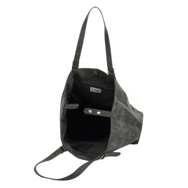 Escape Fatigue Canvas Over-Sized Tote Bag | Dark Grey - KaryKase