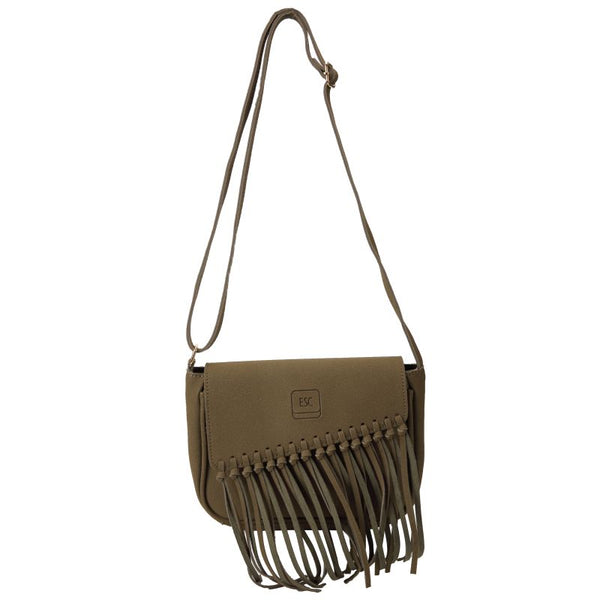 Escape Suede Look Tassel Bag | Military Green - KaryKase