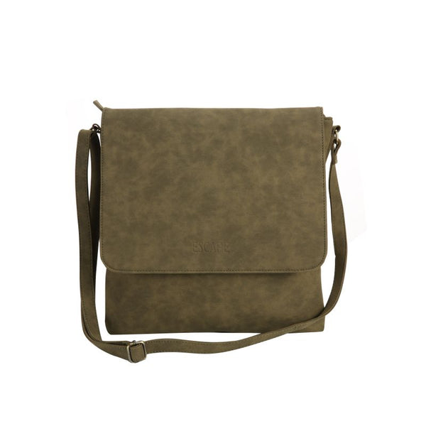 Escape Distressed Imitation Leather Cross Body Bag | Military Green - KaryKase