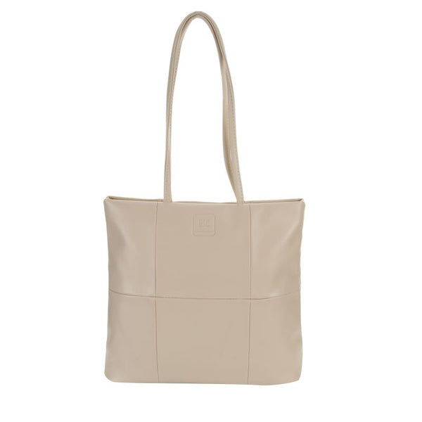 Escape Imitation Leather Patchwork Tote | Beige - KaryKase