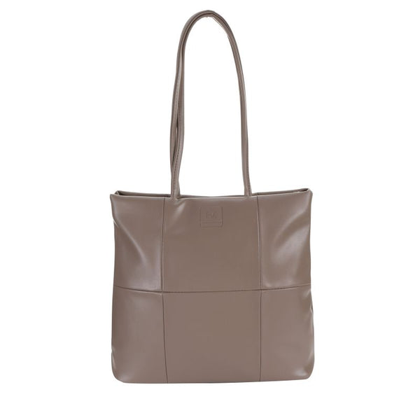 Escape Imitation Leather Patchwork Tote | Taupe - KaryKase