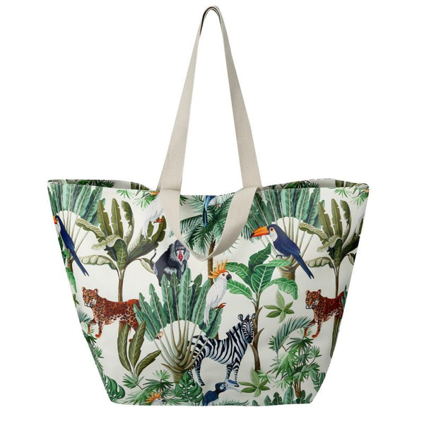 SoGood-Candy Beach Tote Bag | Tropical Fauna & Flora PU