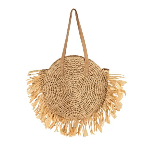 Semi Wild Round Crochet Bag with Tassels | Light Brown - KaryKase