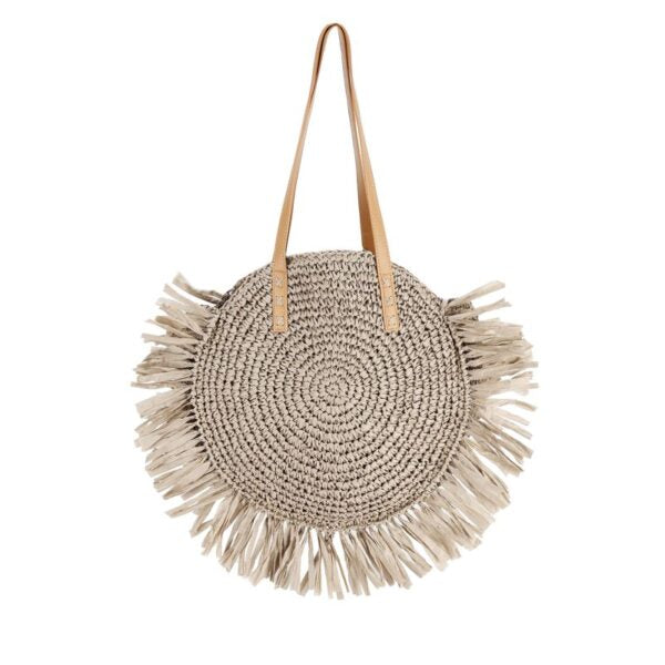 Semi Wild Round Crochet Bag with Tassels | Taupe