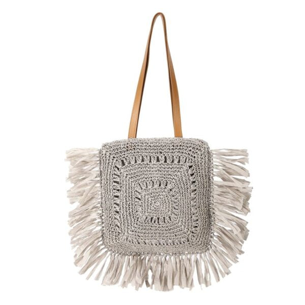 Semi Wild Square Crochet Bag with Tassel | Grey - KaryKase