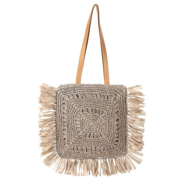 Semi Wild Square Crochet Bag with Tassel | Taupe