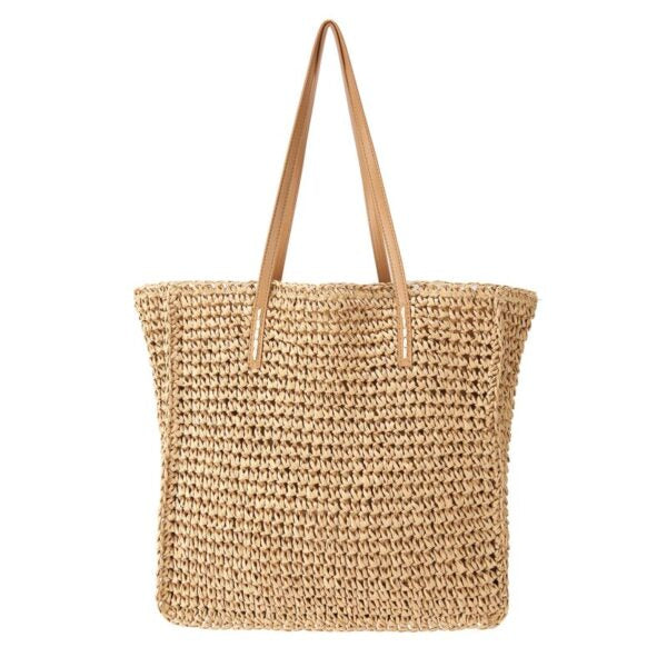 Semi Wild Square Crochet Bag with PU Handles | Light Brown - KaryKase