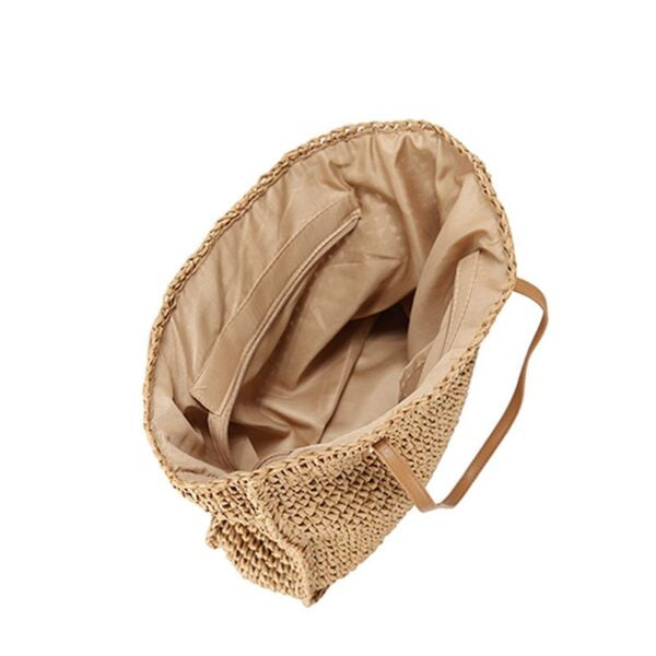Semi Wild Square Crochet Bag with PU Handles | Light Brown