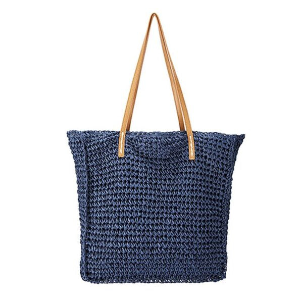 Semi Wild Square Crochet Bag with PU Handles | Navy Blue