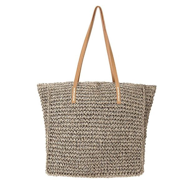 Semi Wild Square Crochet Bag with PU Handles | Grey