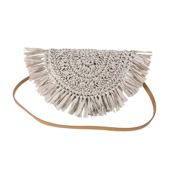 Semi Wild Crochet Cross Body Bag with Tassles | Grey - KaryKase