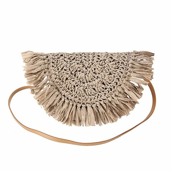 Semi Wild Crochet Cross Body Bag with Tassles | Taupe - KaryKase