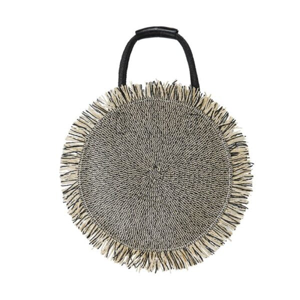Semi Wild Woven Two Tone Round Bag | Black & Cream - KaryKase