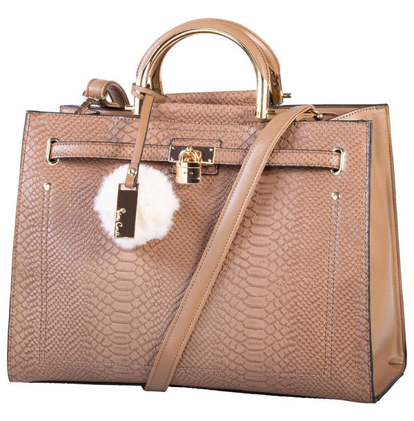 Pierre Cardin Regan Croc Top Handle Handbag | Choc - KaryKase