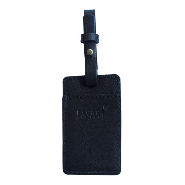 Escape Society Utility Leather Luggage Tag | Black