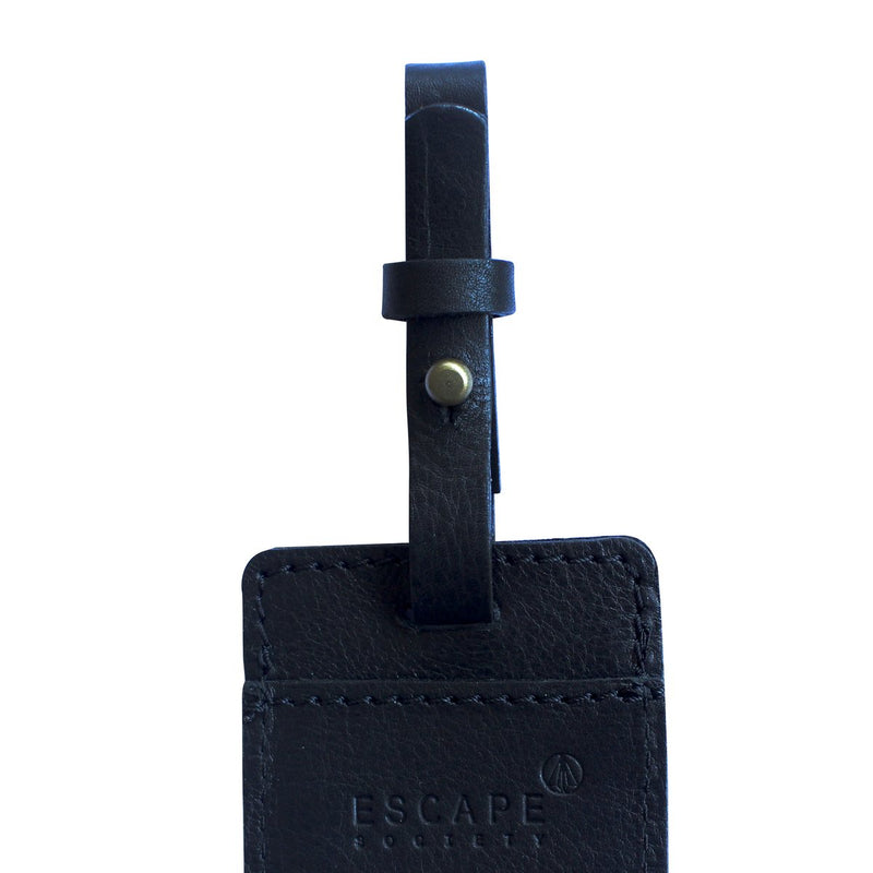 Escape Society Utility Leather Luggage Tag | Black - KaryKase