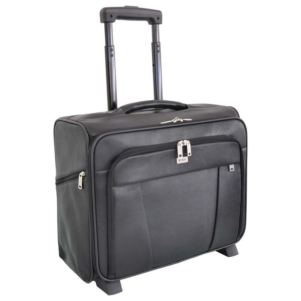 Busby Union Leather Business Laptop Trolley Bag | Black