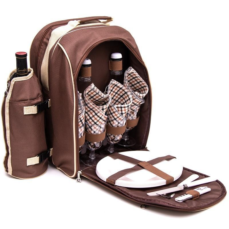 Yuppie Gift Baskets Alfresco 4 Persons Picnic Backpack | Brown - KaryKase