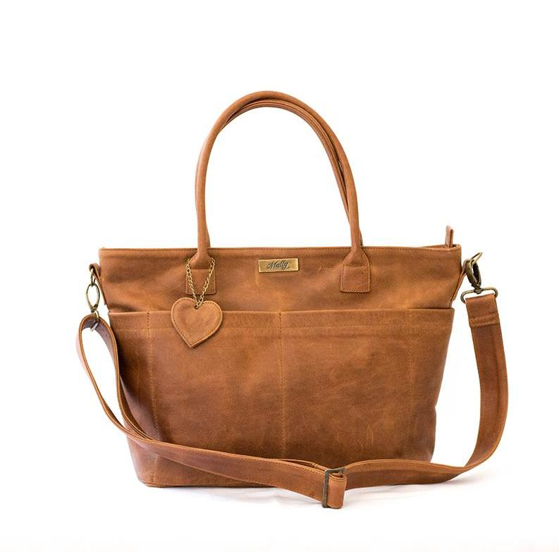 Mally Beula Leather Baby Bag | Toffee - KaryKase