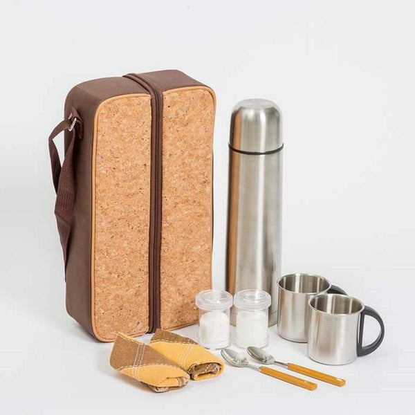Yuppie Gift Baskets Cork Coffee Flask Bag | Brown - KaryKase