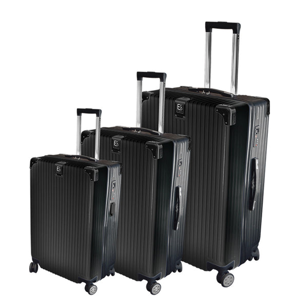 Eco Earth Berlin 3 Piece Luggage Spinner Set | Black - KaryKase