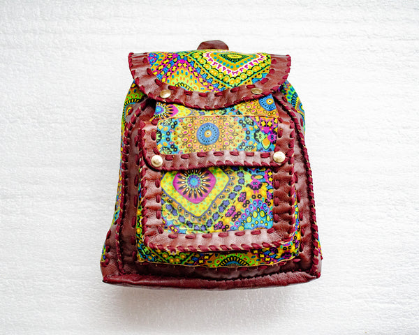 Mebala Handmade Casual Backpack | Brown/BG Print