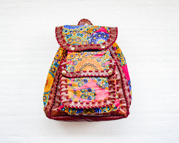 Mebala Handmade Casual Backpack | Brown/YR Print