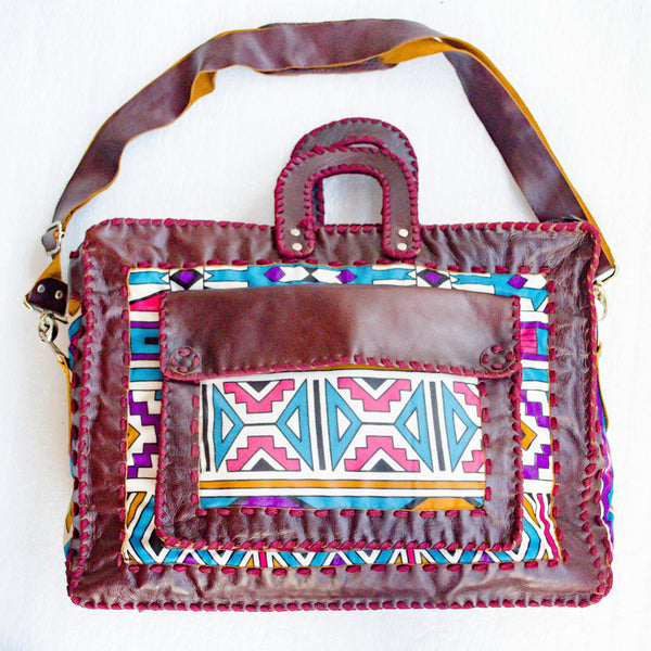 Mebala Handmade Laptop Bag | Brown/TR Print