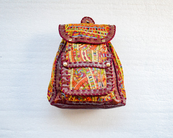 Mebala Handmade Casual Backpack | Brown/GY Print