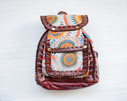 Mebala Handmade Casual Backpack | Brown/WC Print