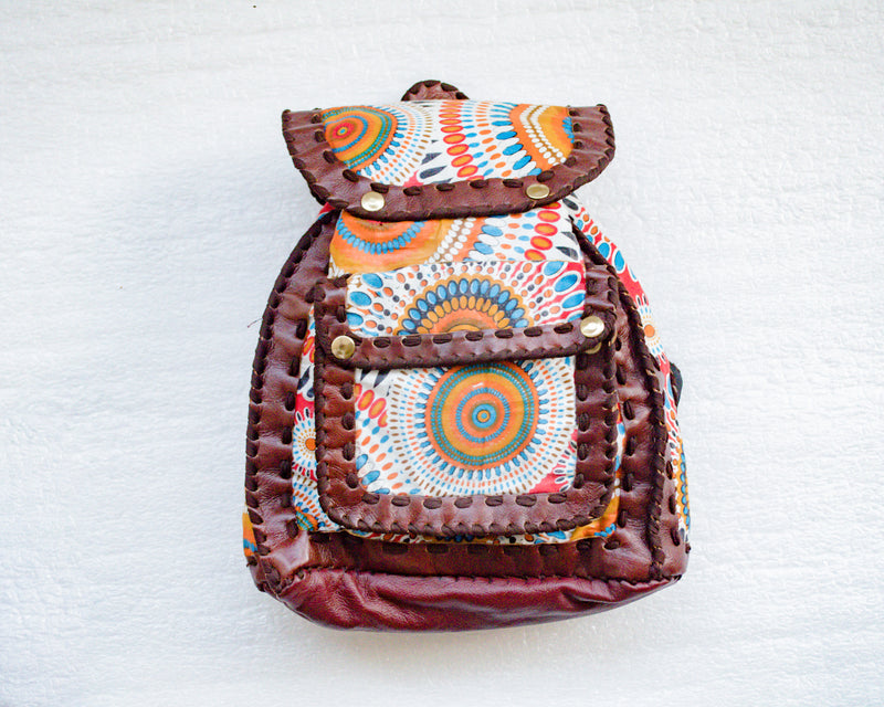 Mebala Handmade Casual Backpack | Brown/WC Print - KaryKase