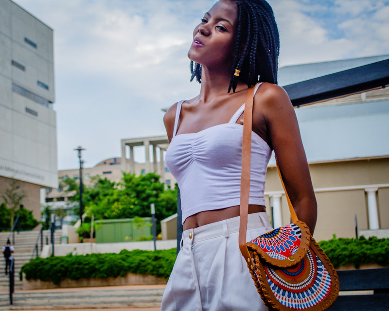 Mebala Handmade Curved Sling Bag | Tan/OR Print - KaryKase