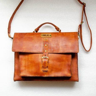 Mebala Masego Handmade Leather Laptop Bag | Brown - KaryKase