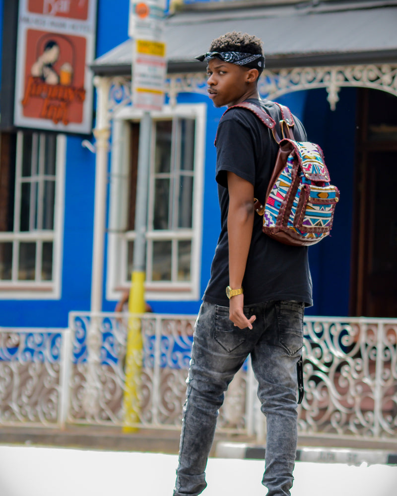 Mebala Handmade Casual Backpack | Brown/TR Print - KaryKase