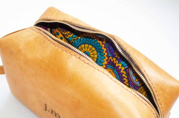 Mebala Handmade Timkudze Toiletry Bag | Tan - KaryKase