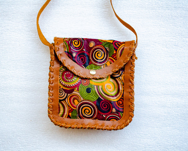 Mebala Handmade Mini Sling Bag | Tan/MR Print