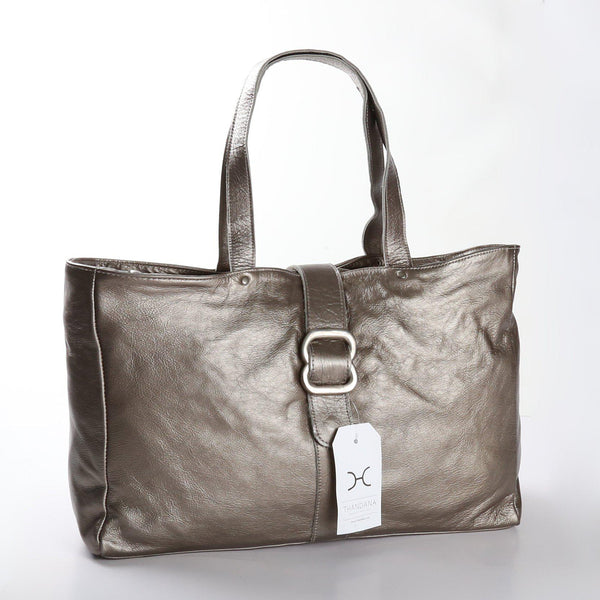 Thandana Ellie Metallic Leather Handbag | Pewter - KaryKase