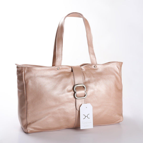 Thandana Ellie Metallic Leather Handbag | Rose Gold - KaryKase