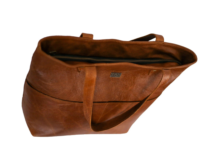 Tan Leather Goods - Emma Leather Handbag | Pecan - KaryKase
