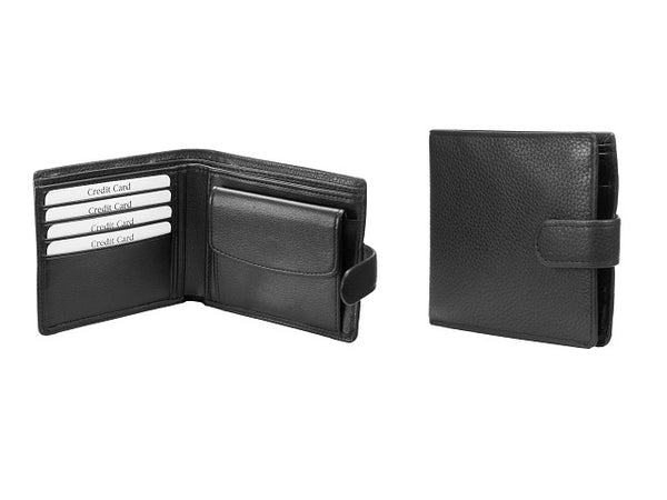 Adpel Leather Wallet with Tab Closure | Black - KaryKase