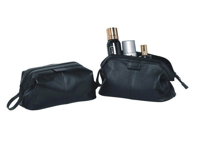 Adpel Genuine Leather Toiletry Bag | Black - KaryKase