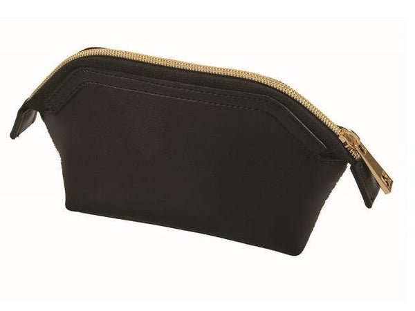 Adpel Leather Khloe Cosmetic Make Up Purse | Black - KaryKase