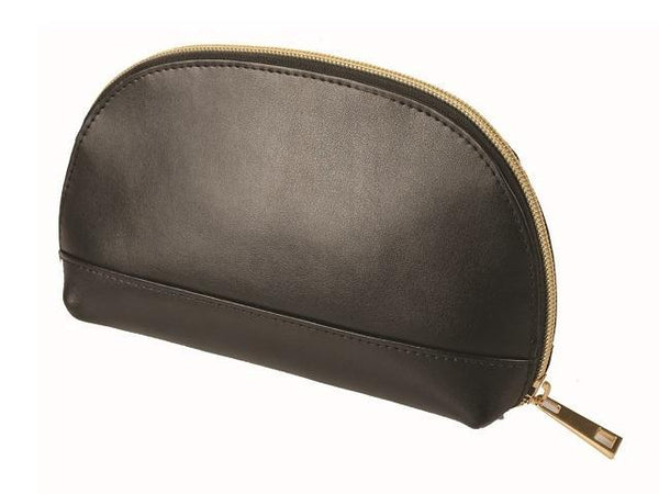 Adpel Leather Jenna Cosmetic Make Up Purse | Black - KaryKase