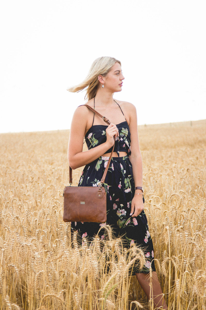 Tan Leather Goods - Taylor Leather Sling Bag | Pecan - KaryKase