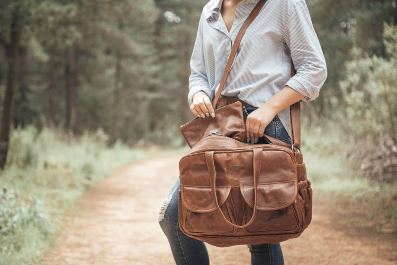 Tan Leather Goods - Joanie Leather Nappy Bag | Pecan - KaryKase