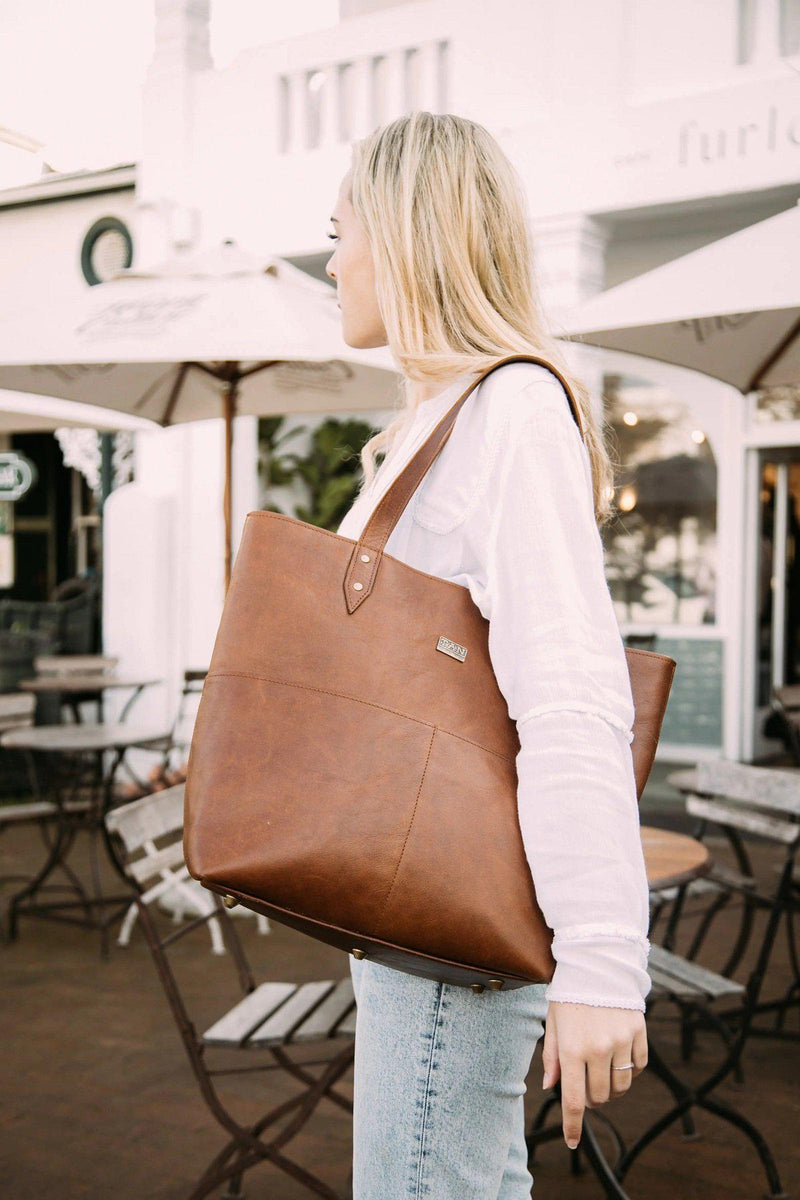 Tan Leather Goods - Emma Leather Handbag | Toffee - KaryKase