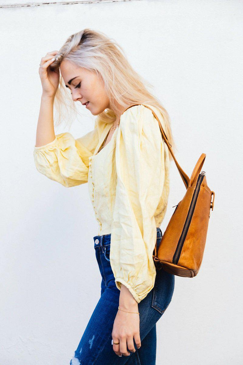 Tan Leather Goods - Olivia Leather Backpack | Toffee - KaryKase