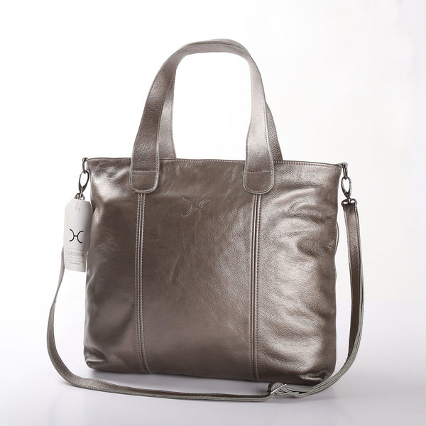 Thandana Jax Metallic Leather Handbag | Pewter - KaryKase